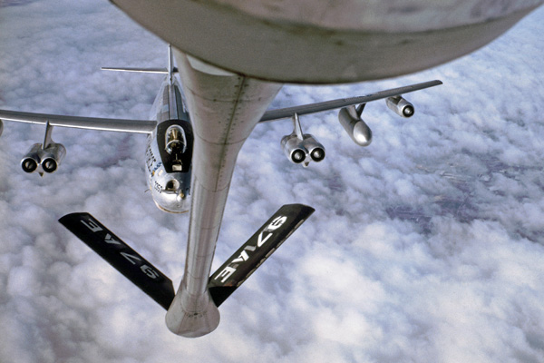 B-47 bomber re fueling with KC-135