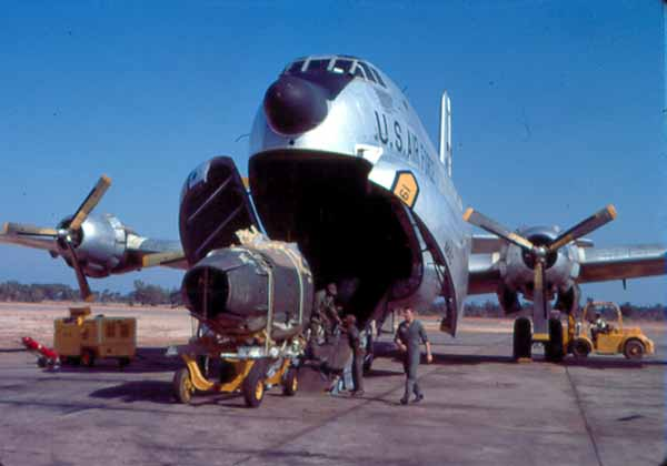 C-124 loading an F-100 engine assembly